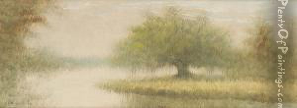 Bayou Landscape With Oak Tree Oil Painting Reproduction By Alexander