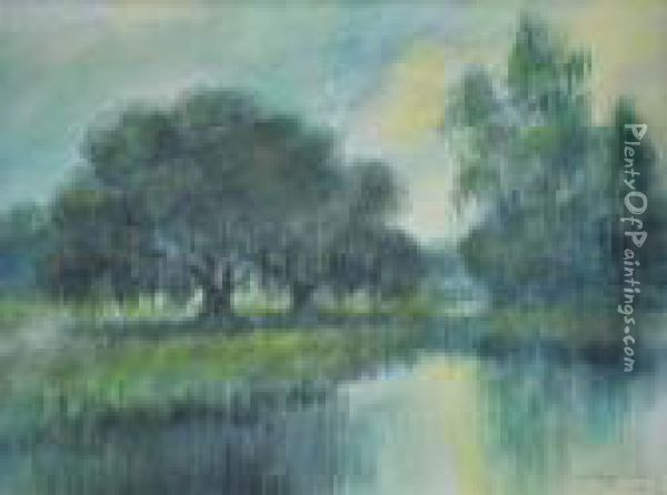 Oak And Cypress Trees Along A Bayou Oil Painting Reproduction By