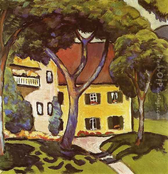 Staudacher's House at Tegernsee Oil Painting - August Macke