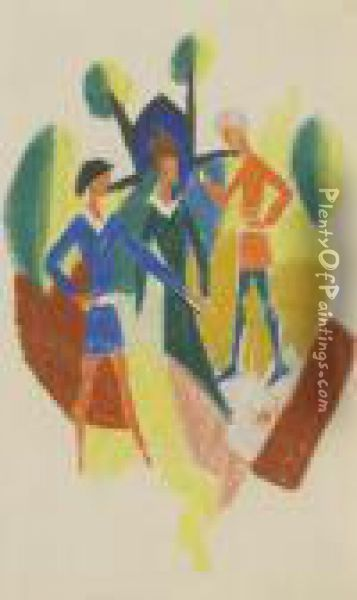 Zwei Manner Und Frau (stickerei) Oil Painting - August Macke