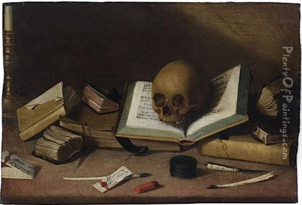 Nature Morte Aux Livres Et Au Crane oil painting reproduction by ...