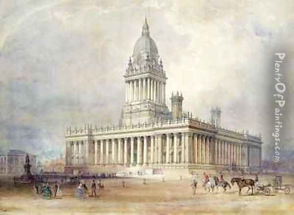 Design for Leeds Town Hall Oil Painting - Cuthbert Brodrick