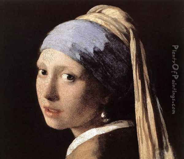 Girl with a Pearl Earring (detail-1) c. 1665 Oil Painting - Jan Vermeer Van Delft