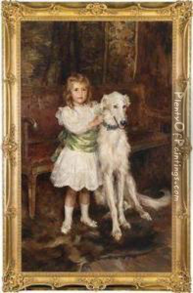 Full Figure Portrait Of The Young Count Louis Vorow Zborrowski With His Barzoi Dog At