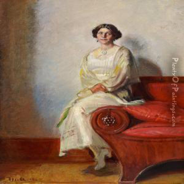 Portrait of henny brodersen seated on a sofa armrest oil for Henny and paint