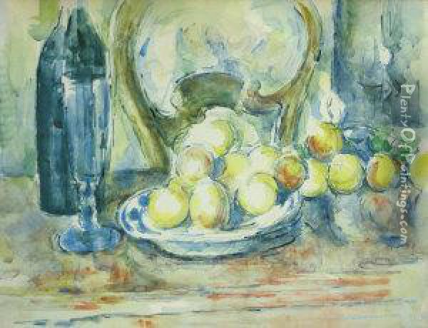 Still Life With Chair Bottles And Apples Oil Painting - Paul Cezanne & Still Life With Chair Bottles And Apples oil painting reproduction ...