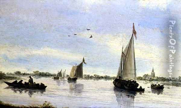 Sailboats on a river christy brown