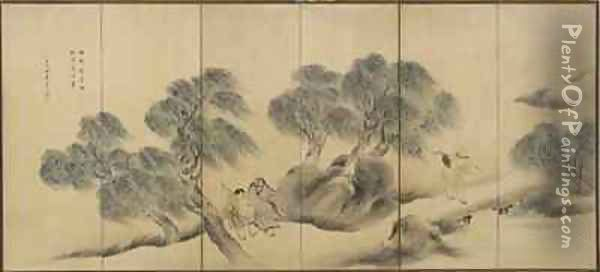 Clear Evening on a Willow Bank, Edo period Oil Painting - Yosa (T.Y. Shinsho) Buson