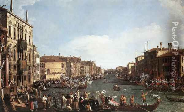 A Regatta on the Grand Canal c. 1732 Oil Painting - (Giovanni Antonio Canal) Canaletto