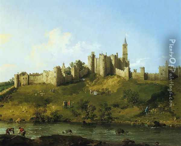 Alnwick Castle at Northumberland 1752 Oil Painting - (Giovanni Antonio Canal) Canaletto