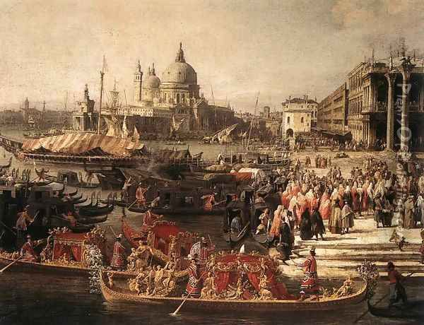 Arrival of the French Ambassador in Venice (detail) Oil Painting - (Giovanni Antonio Canal) Canaletto