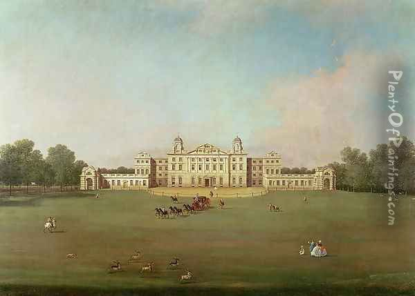 Badminton House, Gloucestershire Oil Painting - (Giovanni Antonio Canal) Canaletto
