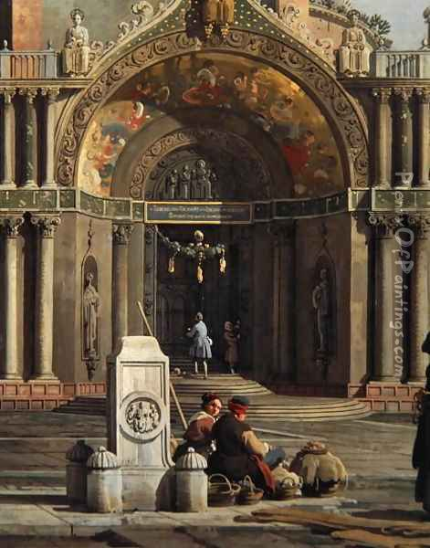 Detail of Capriccio of a Church Oil Painting - (Giovanni Antonio Canal) Canaletto