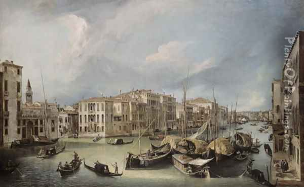 Grand Canal in Venice with the Rialto Bridge, c.1726-30 Oil Painting - (Giovanni Antonio Canal) Canaletto