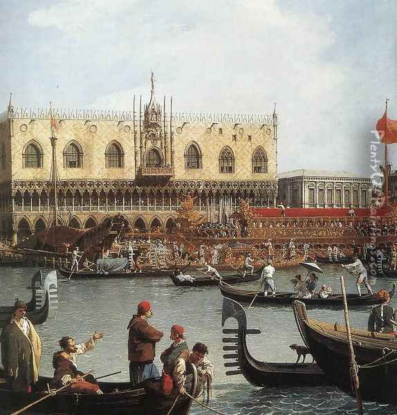 Return of the Bucentoro to the Molo on Ascension Day (detail) 2 Oil Painting - (Giovanni Antonio Canal) Canaletto