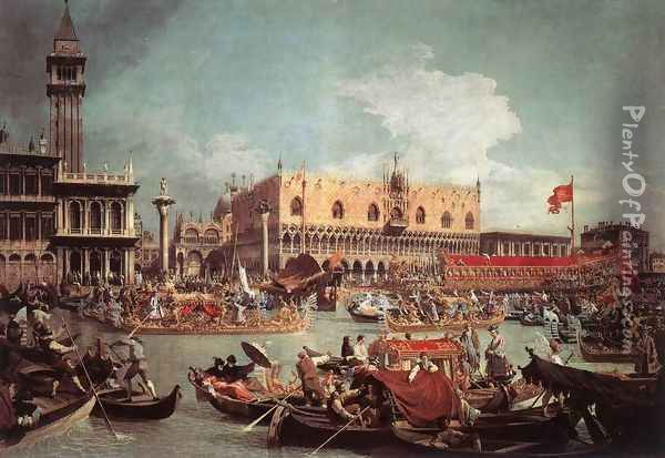 The Bucintoro Returning To The Molo On Ascension Day Oil Painting - (Giovanni Antonio Canal) Canaletto
