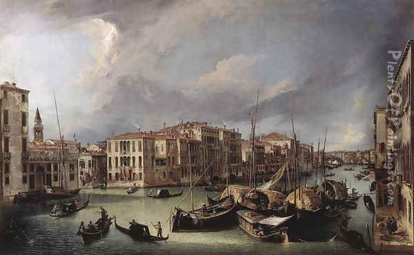 The Grand Canal With The Rialto Bridge In The Background Oil Painting - (Giovanni Antonio Canal) Canaletto