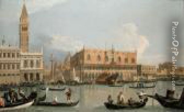 The Molo, Venice From The Bacino Di San Marco Oil Painting - (Giovanni Antonio Canal) Canaletto