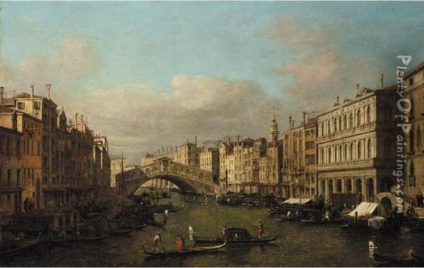 Venice, A View Of The Rialto Bridge From The South Oil Painting - (Giovanni Antonio Canal) Canaletto