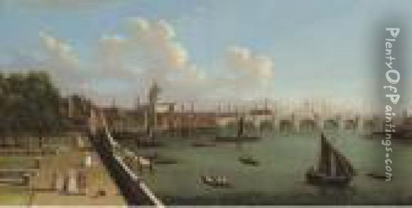 View Across The Thames From Somerset House Oil Painting - (Giovanni Antonio Canal) Canaletto
