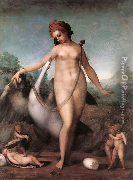 Leda and the Swan 1512-13 Oil Painting - (Jacopo Carucci) Pontormo