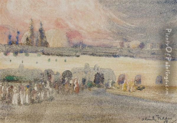 Wailing Wall, Jerusalem Oil Painting - A. Romilly Fedden
