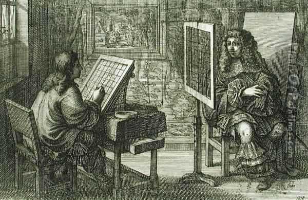 Artist painting a portrait over a grid for accurate proportion, printed Paris 1737 Oil Painting - Abraham Bosse