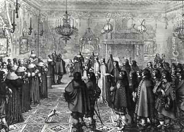 Ceremony passing the marriage contract of Wladyslaw IV (1595-1648) and Maria Ludwiga Gonzaga (1611-67) at Fontainebleau Oil Painting - Abraham Bosse