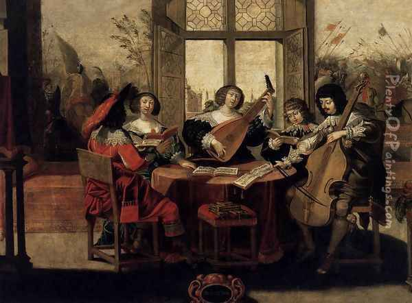 The Five Senses- Hearing c. 1635 Oil Painting - Abraham Bosse