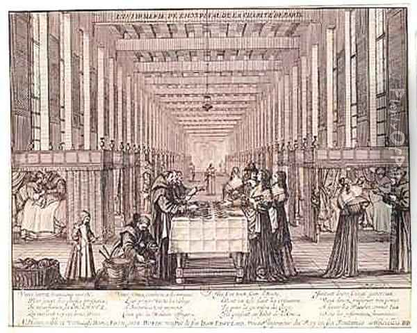 The Infirmary of the Sisters of Charity during a visit of Anne of Austria (1601-66) Oil Painting - Abraham Bosse