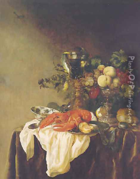A banketje still life of fruit in a silver tazza, a lobster, a roemer and other objects on a white cloth on a velvet-draped table Oil Painting - Abraham Hendrickz Van Beyeren