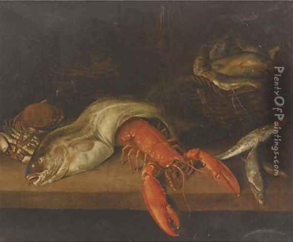 A lobster, a basket of fish, a crab, a cod and other fish on a ledge Oil Painting - Abraham Hendrickz Van Beyeren