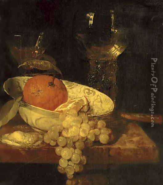 A roemer and a facon de Venise, oranges in a Wan-Li kraak porcelain bowl, an oyster, grapes and a knife on a table Oil Painting - Abraham Hendrickz Van Beyeren