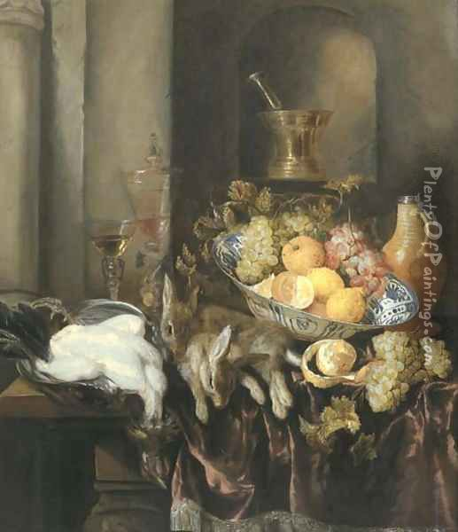 Grapes, lemons, and oranges in a Wan-li 'kraak' porselein bowl, with a plucked chicken and two hares, and two facon-de-Venise glasses Oil Painting - Abraham Hendrickz Van Beyeren