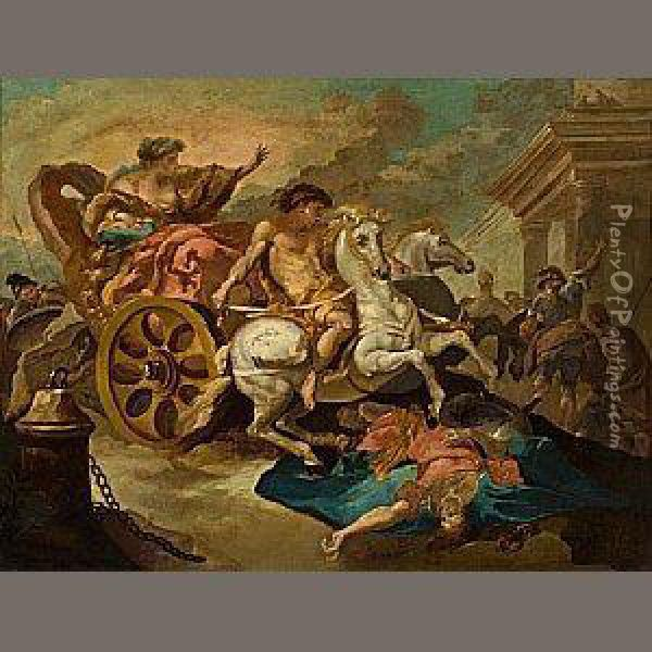 Tulia Driving Her Chariot Over The Body Of Her Dead Father Oil Painting - Abraham Hondius