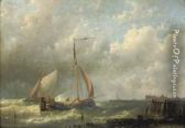 Ships Near A Jetty Oil Painting - Abraham Hulk Jun.