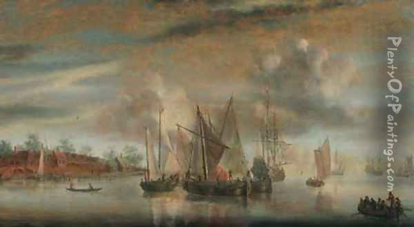 A calm Wijdships and a threemaster at anchor in a river estuary, at sunset Oil Painting - Abraham de Verwer