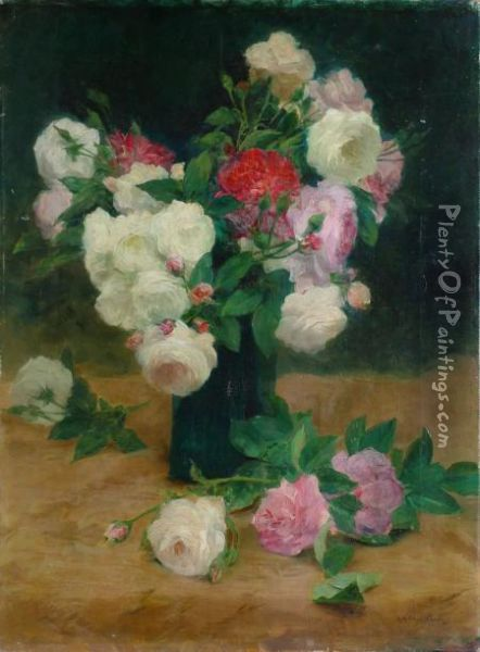 Roses Blanches Et Roses Oil Painting - Achille Theodore Cesbron