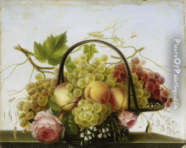 Fruit Basket With Grapes Andpeaches Oil Painting - Adelheid Dietrich