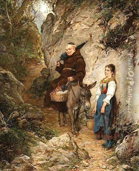 A chance meeting Oil Painting - Adolf Humborg