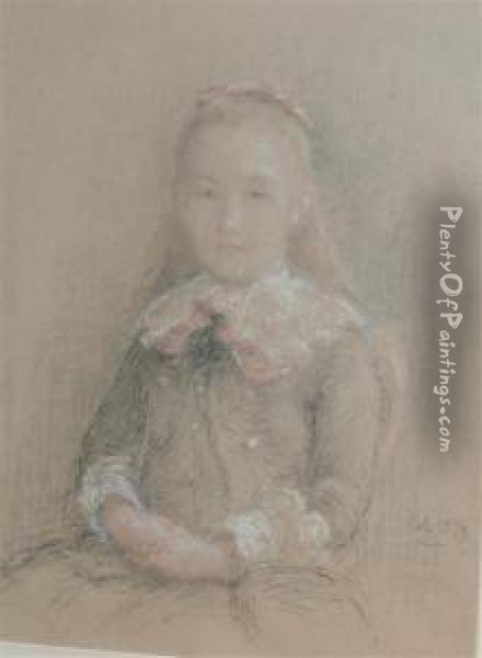 Portrait Of Fanny Goulliart Oil Painting - Adolphe Felix Cals