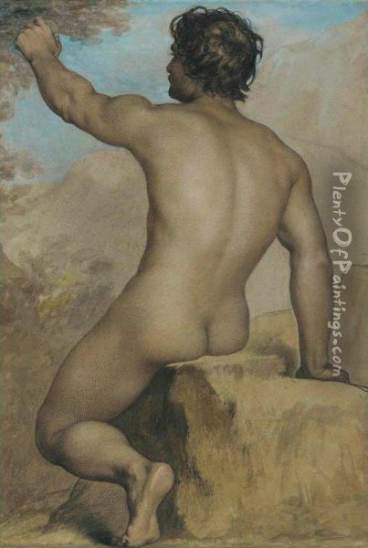 Seated Male Nude Seen From The Back, Study Of A Female Nude Seated, And Academic Male Nude: Three Works Oil Painting - Adolphe-Joseph Huot