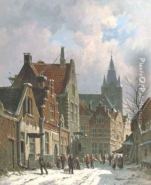 A busy street in Delft in winter Oil Painting - Adrianus Eversen