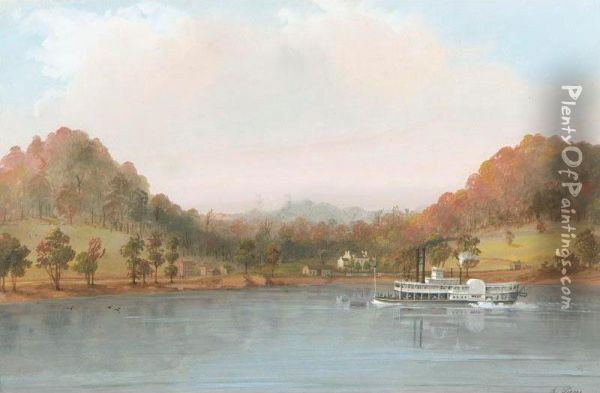Boat On The Mississippi Oil Painting - Adrien Marie Persac