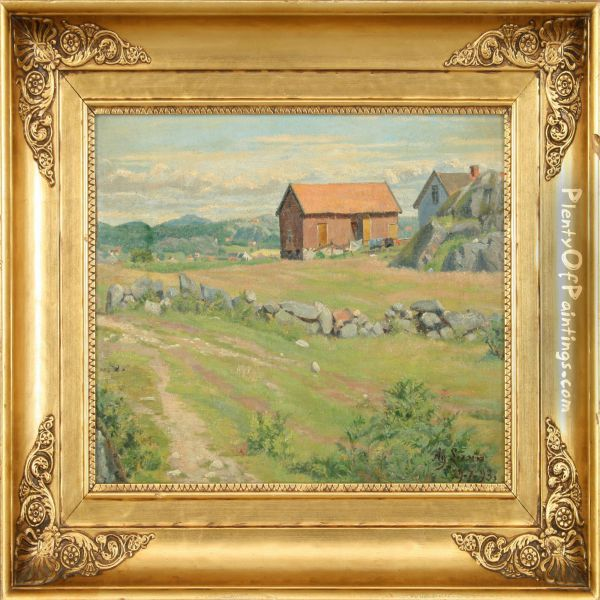 A Summer Landscape With Farm And Fence Oil Painting - Agnes Lunn