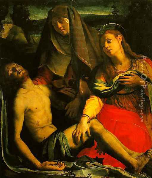 The Dead Christ with the Madonna and Mary Magdalen Oil Painting - Agnolo Bronzino
