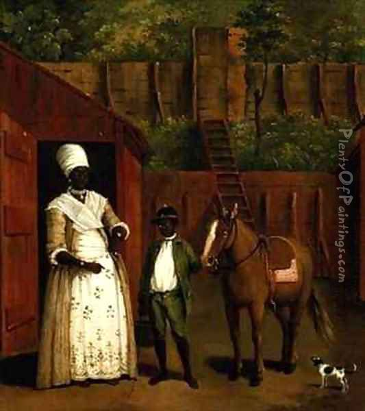A Negro Mother and Son with a Pony outside a Stable Oil Painting - Agostino Brunias