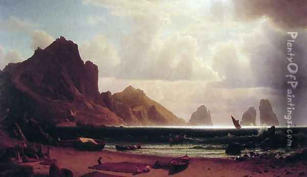The Marina Piccola, Capri Oil Painting - Albert Bierstadt