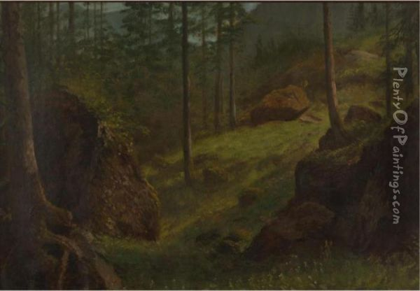 Wooded Hillside Oil Painting - Albert Bierstadt