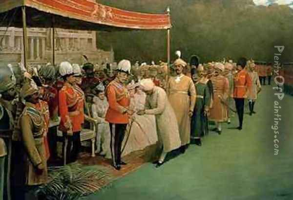 Edward VII receiving Maharajahs and Dignitaries Prior to his Coronation Oil Painting - Albert E. Harris